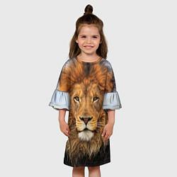 Платье клеш для девочки Красавец лев цвета 3D-принт — фото 2