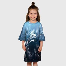 Платье клеш для девочки Голодные пираньи цвета 3D-принт — фото 2