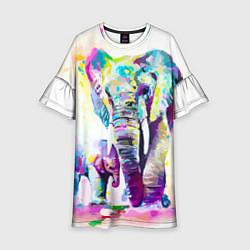 Платье клеш для девочки Акварельные слоны цвета 3D-принт — фото 1