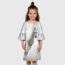 Платье клеш для девочки Белый конь цвета 3D — фото 2