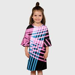 Платье клеш для девочки Неон цвета 3D — фото 2