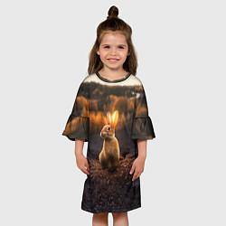 Платье клеш для девочки Солнечный зайчик цвета 3D — фото 2