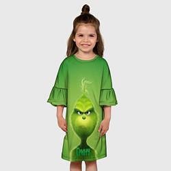 Платье клеш для девочки Гринч цвета 3D — фото 2