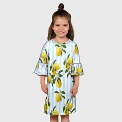 Платье клеш для девочки Лимоны цвета 3D — фото 2