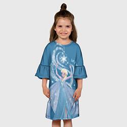 Платье клеш для девочки Принцесса Эльза цвета 3D-принт — фото 2