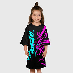 Платье клеш для девочки НЕОН НАРУТО цвета 3D-принт — фото 2