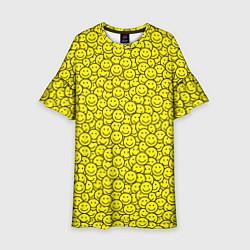 Платье клеш для девочки Смайлики цвета 3D-принт — фото 1