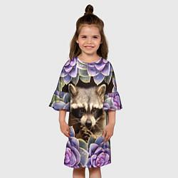 Платье клеш для девочки Енот среди цветов цвета 3D — фото 2