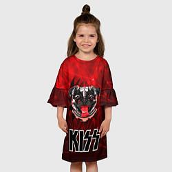 Платье клеш для девочки Собака в стиле KISS цвета 3D-принт — фото 2