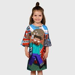 Платье клеш для девочки Minecraft Man цвета 3D-принт — фото 2