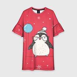 Платье клеш для девочки Влюбленная пингвинка цвета 3D-принт — фото 1