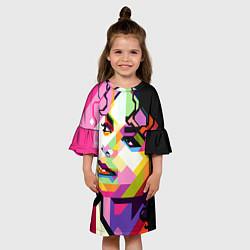 Платье клеш для девочки Michael Jackson Art цвета 3D-принт — фото 2