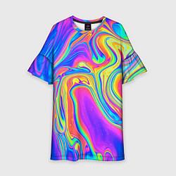 Платье клеш для девочки Цветные разводы цвета 3D — фото 1