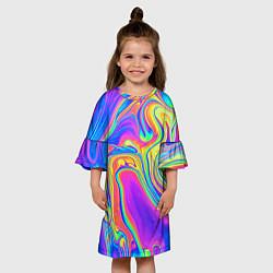 Платье клеш для девочки Цветные разводы цвета 3D-принт — фото 2