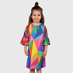 Платье клеш для девочки Радуга цвета 3D — фото 2