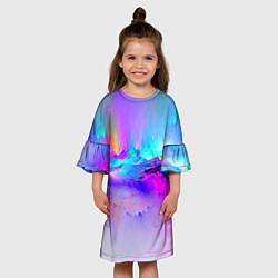 Платье клеш для девочки Абстракция цвета 3D-принт — фото 2