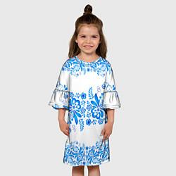 Платье клеш для девочки Гжель цвета 3D — фото 2