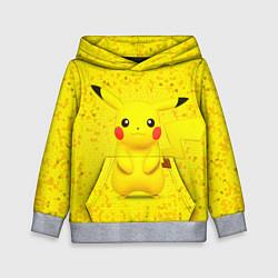 Толстовка-худи детская Pikachu цвета 3D-меланж — фото 1