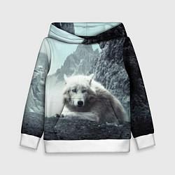 Толстовка-худи детская Волк в горах цвета 3D-белый — фото 1
