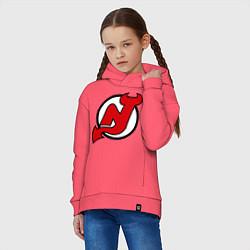 Толстовка оверсайз детская New Jersey Devils цвета коралловый — фото 2