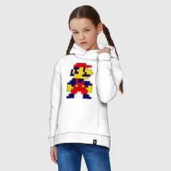 Толстовка оверсайз детская Pixel Mario цвета белый — фото 2
