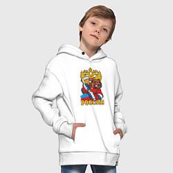 Толстовка оверсайз детская Хоккей! Россия вперед! цвета белый — фото 2