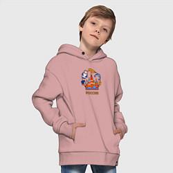 Толстовка оверсайз детская Россия: матрешка, да валенки цвета пыльно-розовый — фото 2
