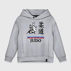 Толстовка оверсайз детская Russia Judo цвета меланж — фото 1