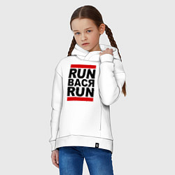 Толстовка оверсайз детская Run Вася Run цвета белый — фото 2