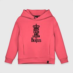 Толстовка оверсайз детская Keep Calm & Listen Beatles цвета коралловый — фото 1