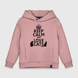 Толстовка оверсайз детская Keep Calm & Love Cats цвета пыльно-розовый — фото 1