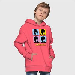 Толстовка оверсайз детская The Beatles: pop-art цвета коралловый — фото 2