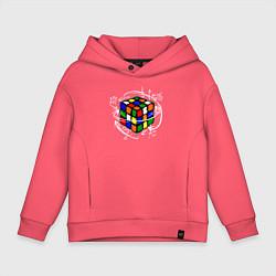 Толстовка оверсайз детская Кубик Рубика цвета коралловый — фото 1