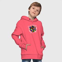 Толстовка оверсайз детская Кубик Рубика цвета коралловый — фото 2