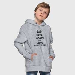 Толстовка оверсайз детская Keep Calm & Love Harry Styles цвета меланж — фото 2