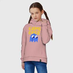 Толстовка оверсайз детская Pac-Man: Game over цвета пыльно-розовый — фото 2