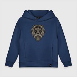 Толстовка оверсайз детская Metallized Lion цвета тёмно-синий — фото 1