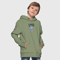 Толстовка оверсайз детская Little Big: UNO цвета авокадо — фото 2