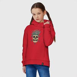 Толстовка оверсайз детская Череп Моргенштерна цвета красный — фото 2