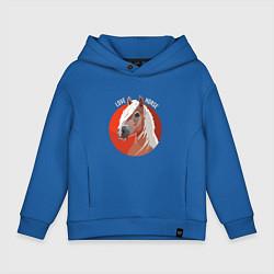 Толстовка оверсайз детская Лошадка цвета синий — фото 1