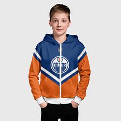 Толстовка на молнии детская NHL: Edmonton Oilers цвета 3D-белый — фото 2