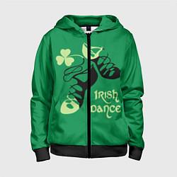 Толстовка на молнии детская Ireland, Irish dance цвета 3D-черный — фото 1