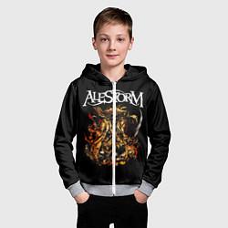 Толстовка на молнии детская Alestorm: Flame Warrior цвета 3D-меланж — фото 2