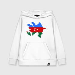 Толстовка детская хлопковая Azerbaijan map цвета белый — фото 1
