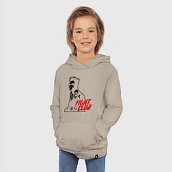 Толстовка детская хлопковая FIght Club: Tyler Durden цвета миндальный — фото 2