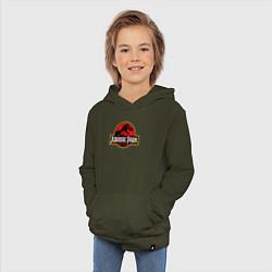 Толстовка детская хлопковая Jurassic Park цвета хаки — фото 2