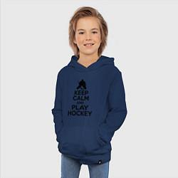 Толстовка детская хлопковая Keep Calm & Play Hockey цвета тёмно-синий — фото 2