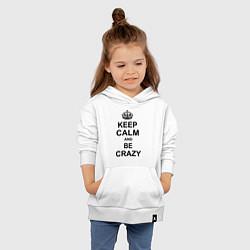 Толстовка детская хлопковая Keep Calm & Be Crazy цвета белый — фото 2