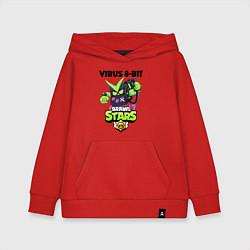 Толстовка детская хлопковая BRAWL STARS VIRUS 8-BIT цвета красный — фото 1