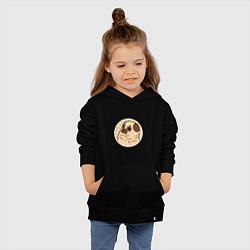 Толстовка детская хлопковая Мечта мопса цвета черный — фото 2